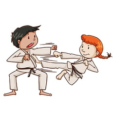A male and a female doing martial arts vector