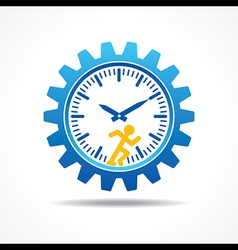 Man running with time concept vector