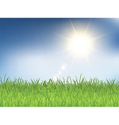 Grass and sunny blue sky 2303 vector