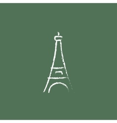 Eiffel tower icon drawn in chalk vector