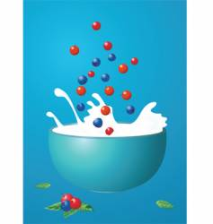 Berries fall in milk vector