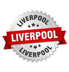 Liverpool round silver badge with red ribbon vector