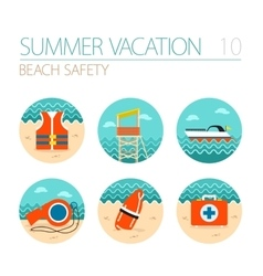 Lifeguard beach safety icon set summer vacation vector