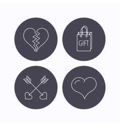 Love heart gift box and arrows icons vector