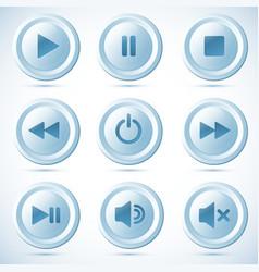 Blue plastic navigation buttons vector image