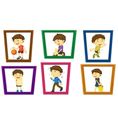 Boy and photo frames vector image vector image