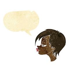 cartoon pretty woman with speech bubble vector image