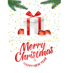 Christmas greeting card with gift box and red vector