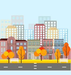 city street view buildings in autumn season vector image vector image