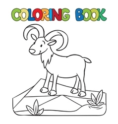 Coloring book of little funny urial or ram vector