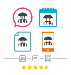Complete family insurance icon umbrella symbol vector