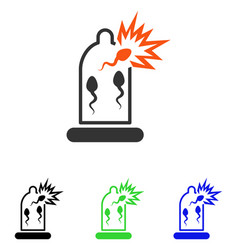 Condom sperm damage flat icon vector