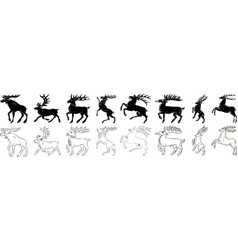 Deer and elk black and white silhouette set vector