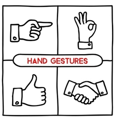 Doodle gestures icons set vector