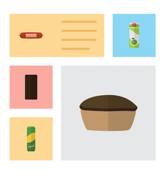 Flat icon meal set of packet beverage tart vector