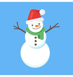 flat style of happy cute snowman in Santa hat and vector image vector image