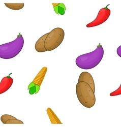 Fresh vegetables pattern cartoon style vector