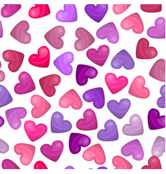 glossy heart seamless pattern on white background vector image