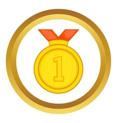 Gold medal for first place icon vector