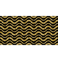 Gold sparkles glitter waves pattern on black vector