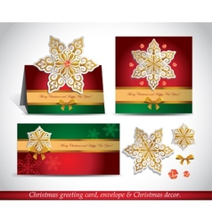 Greeting cards with golden ornate snowflake vector image vector image
