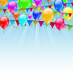 Holiday background with flags and balloons vector