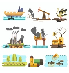 Icons of ecology flat design concept vector