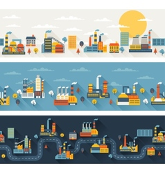 Industrial factory buildings horizontal banners vector