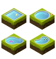 Isometric swimming pool different shapes vector