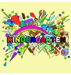 Kindergarten line art design vector image