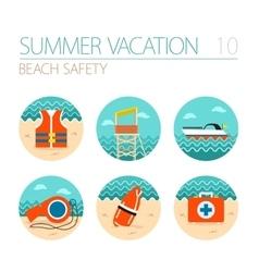 Lifeguard beach safety icon set Summer Vacation vector image vector image