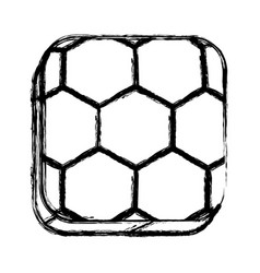 monochrome sketch of square button with soccer vector image vector image