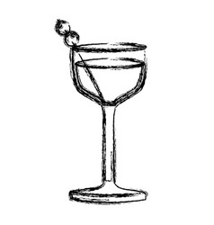 Monochrome sketch silhouette of glass cocktail vector