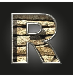 Old stone letter r vector