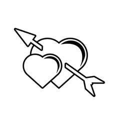 pictogram two heart arrow love valentines symbol vector image vector image