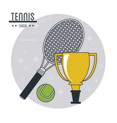 Racket ball and trophy of tennis sport design vector