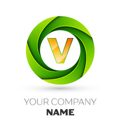 Realistic letter v logo in the colorful circle vector