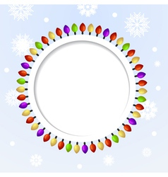 Round abstract background with christmas lights vector