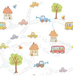 Seamless funny pattern for child with town vector