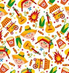 Seamless pattern of festa junina village festival vector