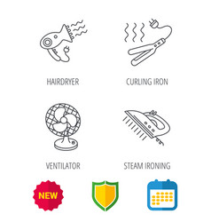 steam ironing curling iron and hairdryer icons vector image