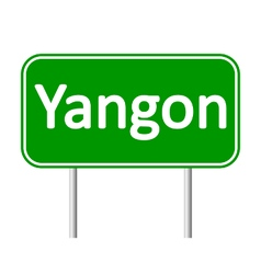 Yangon road sign vector