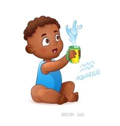 Zodiac sign aquarius african americam child vector