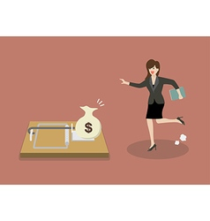 Business woman try to pick money from mousetrap vector