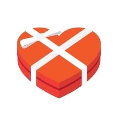 Hearts shaped box with bow vector