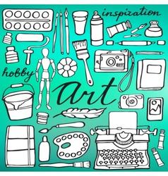 Art supplies set Hand-drawn cartoon collection vector image