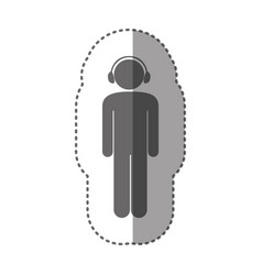 sticker monochrome silhouette pictogram male with vector image