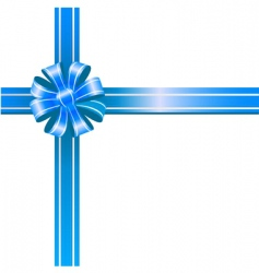 blue bow on white background vector image