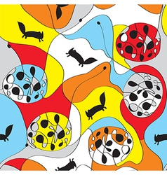 Seamless whimsical pattern with foxes vector