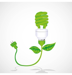 Eco bulb with cable leaf and plug isolated on whit vector